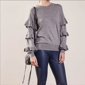 J crew ruffle sleeves gray sweater size M